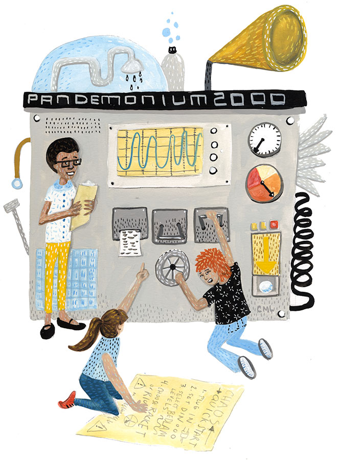 Pandemonium 2000 illustration by Christine Marie Larsen editorial and kid lit