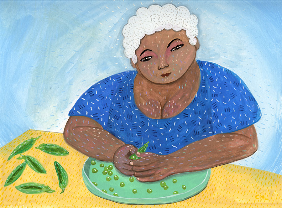Christine Marie Larsen Illustration of a Woman Shelling Peas kidlitart