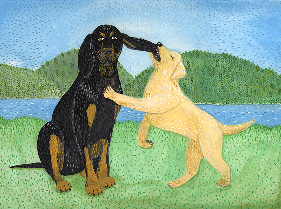 Christine Marie Larsen Illustration of Jet and Bella, black and tan hound and yellow lab puppy