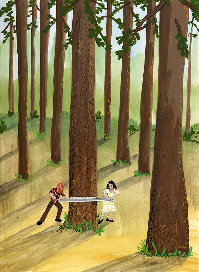 Christine Marie Larsen Illustration of a couple with a crosscut saw cutting down a tall tree