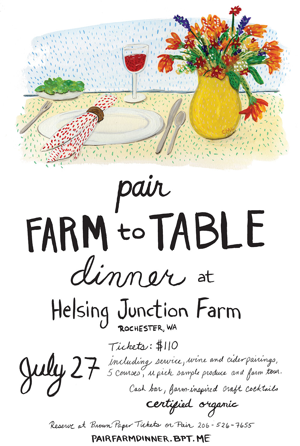 Poster design for Pair Food & Wine seattle restaurant. Illustration by Christine Marie Larsen