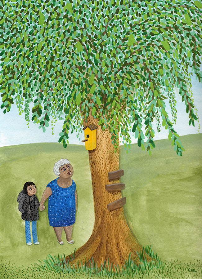 Christine Marie Larsen Illustration of a woman and girl looking at a birdhouse in a tree. KidLitArt
