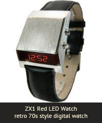 ZX1 Red LED Watch retro 70s style digital watch