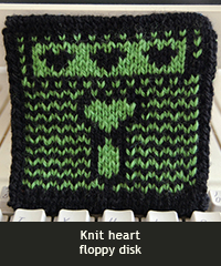 Knit heart floppy disk