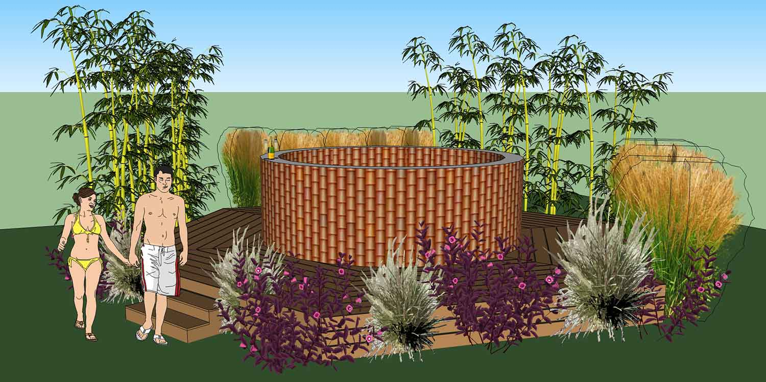 Garden design hot tub hornby garden designs garden for Large front garden ideas