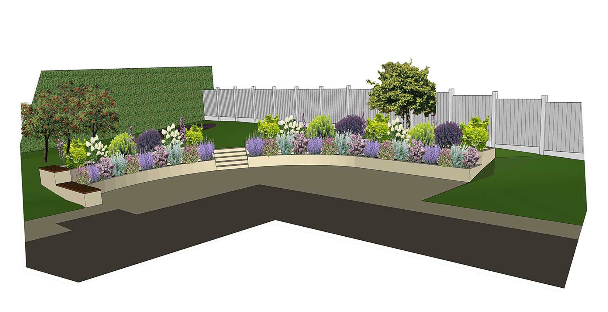 Rear garden design visualisation garden design layout for Garden design plans uk