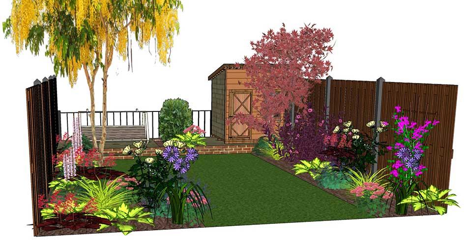 Design Visuals For A Rear Garden   Garden Border Ideas   Landscaping Plants    Home Garden Ideas   Garden Patio Ideas   Hornby Garden Designs    Shrewsbury ...