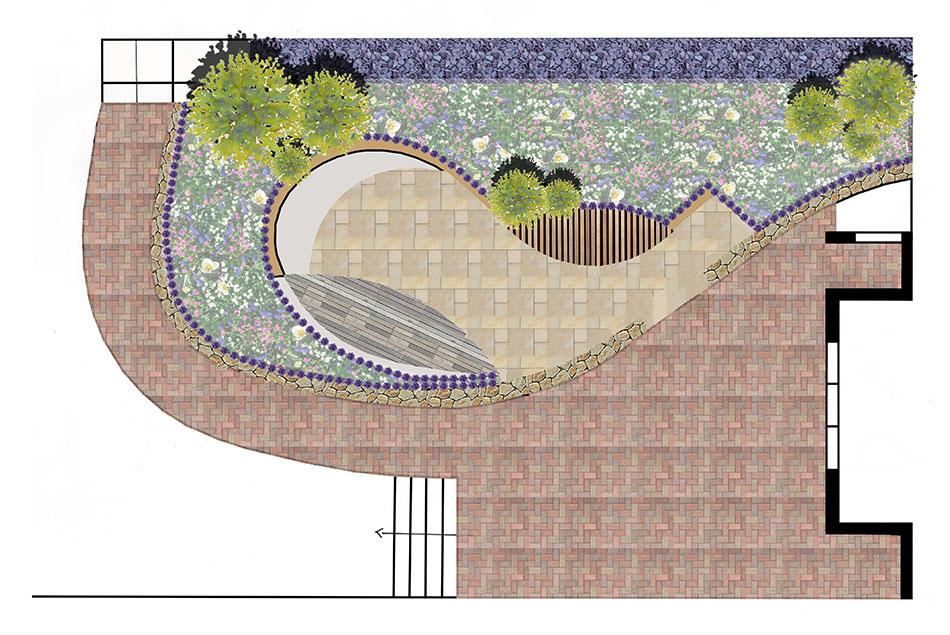 Garden Design Concept Paving Slabs Composite Decking