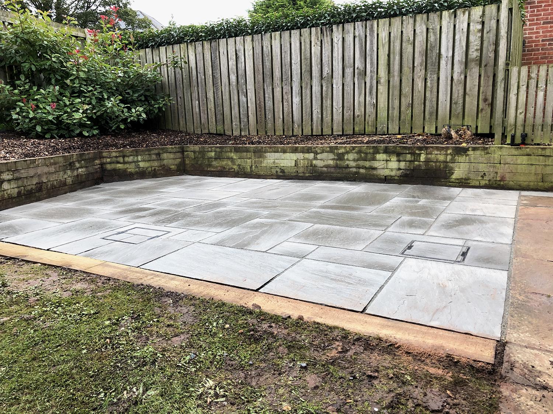 A Grey Sandstone Patio Installation Garden Design Laying A