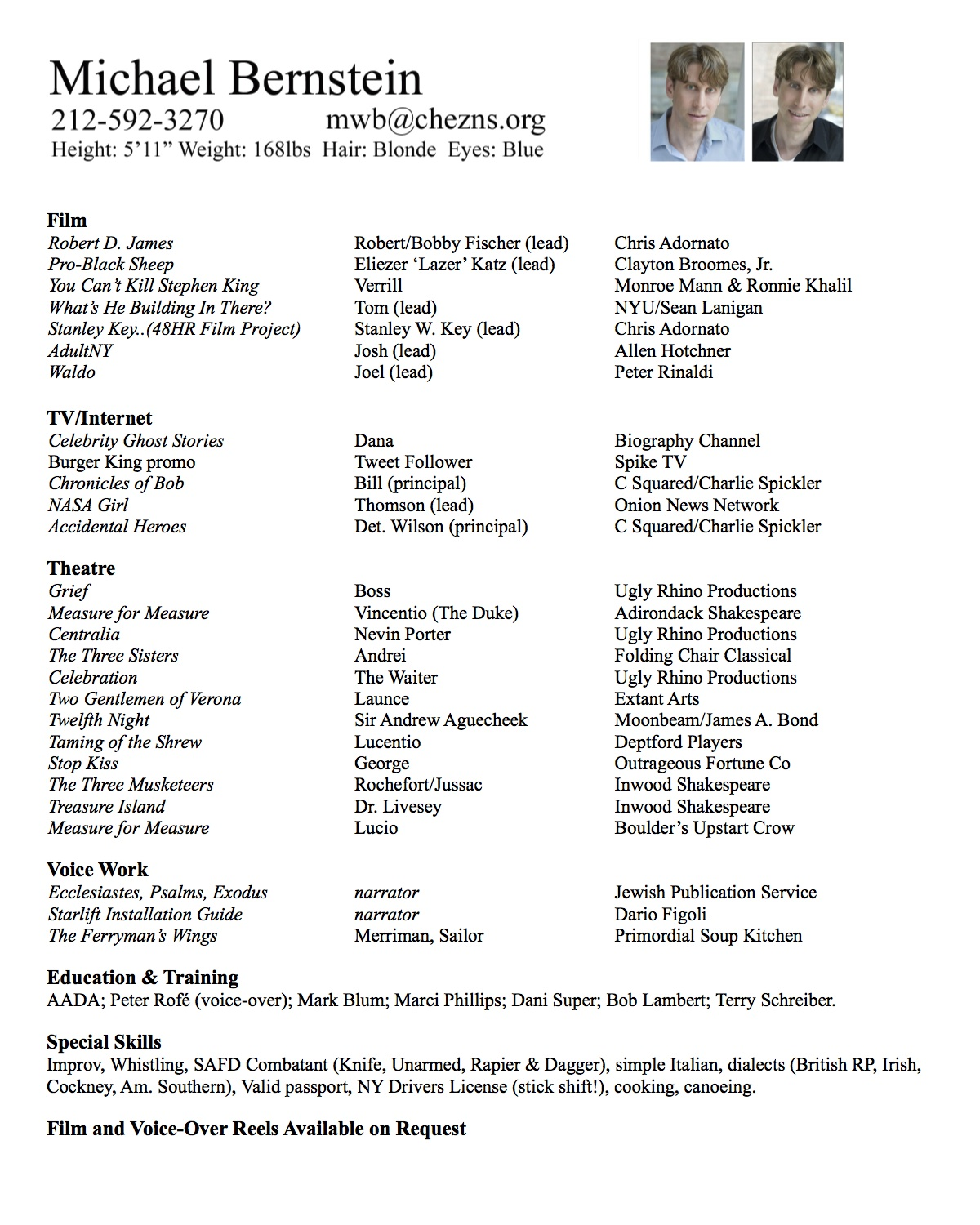 Resumes Michael Bernstein actor writer and more