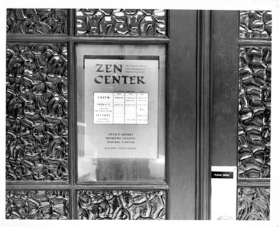 Photo: Sign on door at 300 Page Street, from 1960s, with schedule