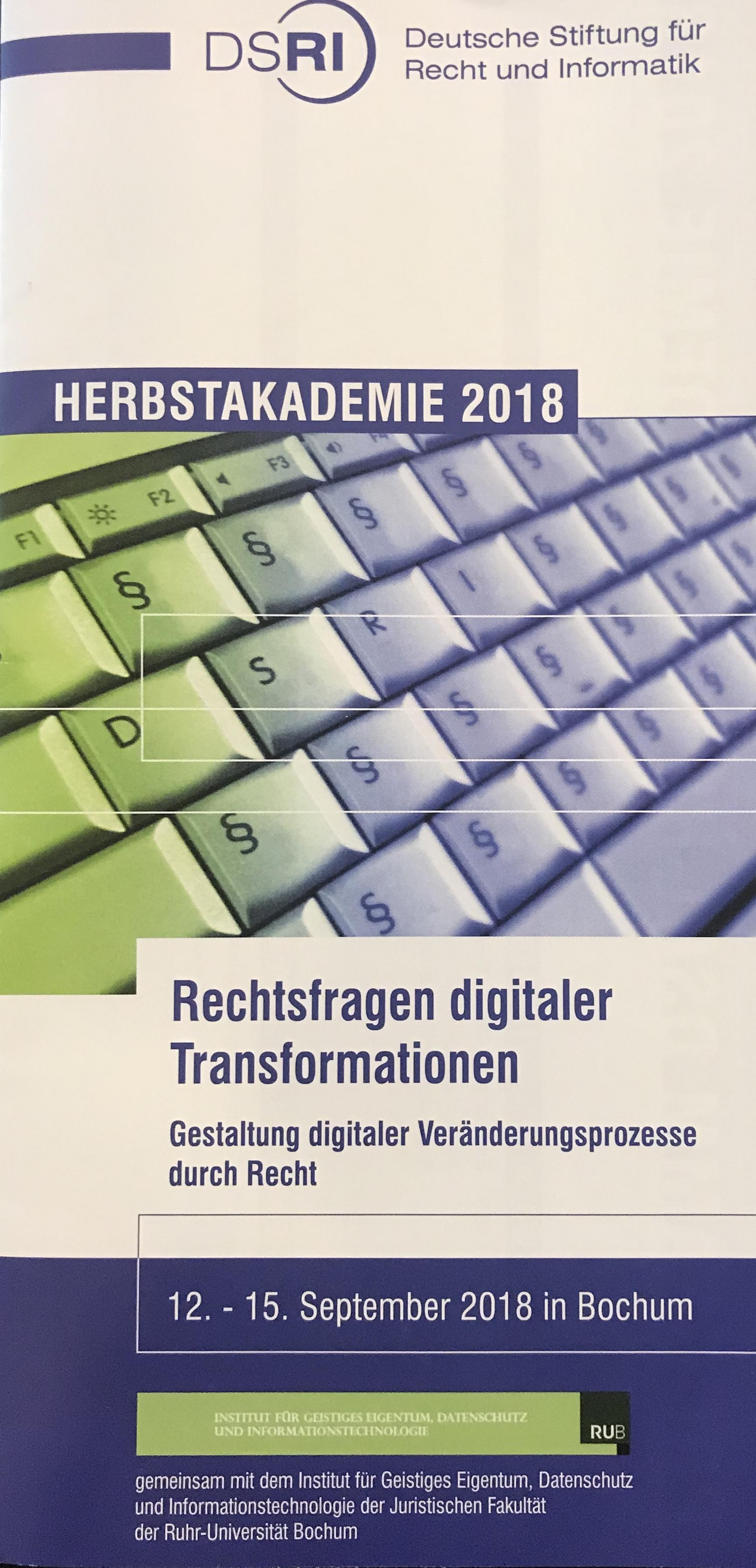 vom 13 1592019 richtet die deutsche stiftung fr recht und informatik dsri in zusammenarbeit mit dem institut fr geistiges eigentum datenschutz und - Uni Bochum Bewerbung