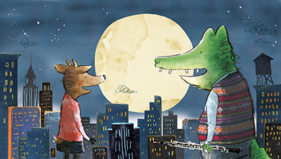 Herman and Rosie in front of moon, Gus Gordon Illustration, Print for Sale