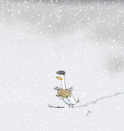 George in the snow, Gus Gordon Illustration, Print for Sale