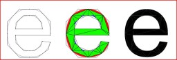 The letter e rendered as curved outline