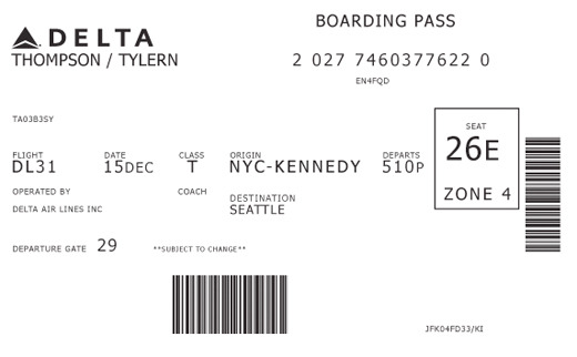 Delta Airlines existing boarding pass