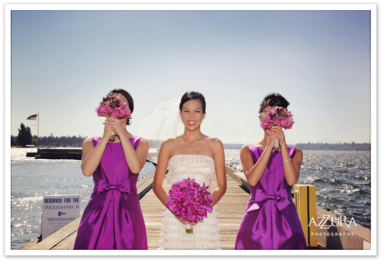 Bridesmaids and Fuscia Flowers in Kirkland