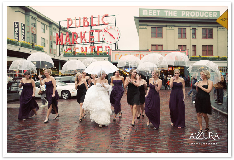 Pike Place Market Wedding in the Rain