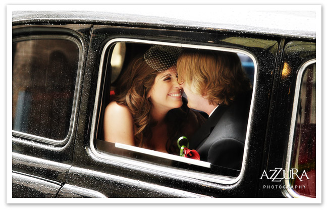 Seattle wedding couple in a vintage car