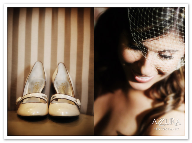Vintage inspired Seattle wedding veil and shoes