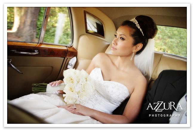 Seattle bride with tiara in Bentley