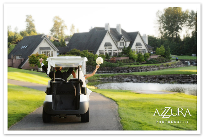 Wedding couple in a  golf cart with bouquet