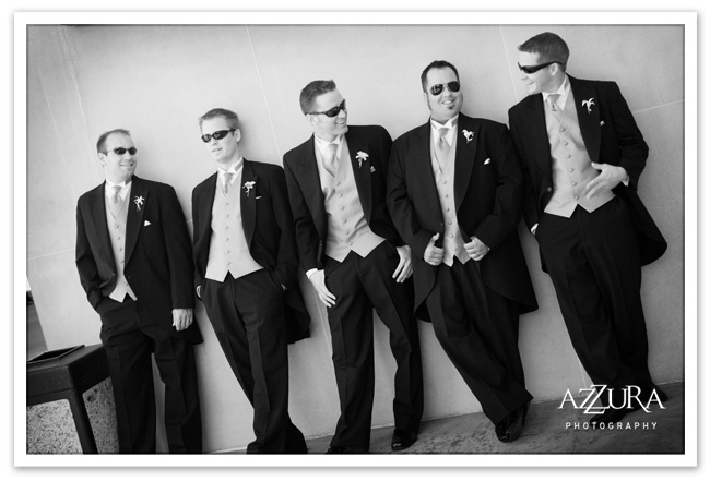 Groomsmen against the wall at a Seattle Wedding