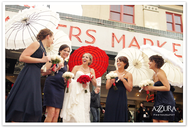 Red White and Blue Wedding at Seattle's Pike Place Market by Azzura Photography
