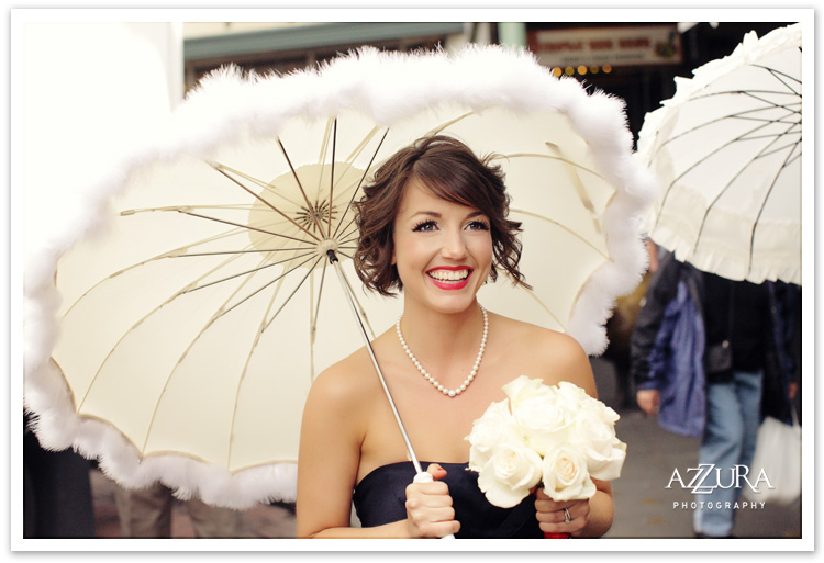 Bridesmaid with Umbrella at Pike Place Market Seattle WA by Azzura Photography