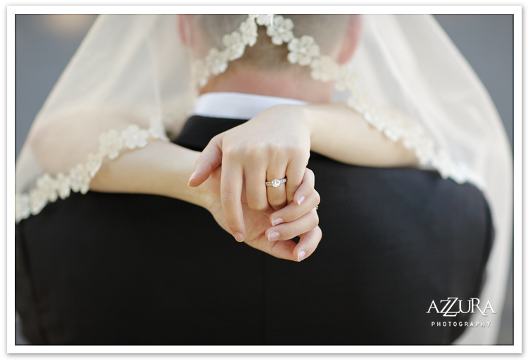 Romantic Seattle Wedding Moment with Engagement Ring Detail by Azzura Photography