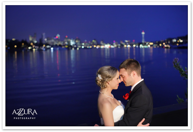 Skansonia Wedding with the Seattle Skyline by Azzura Photography