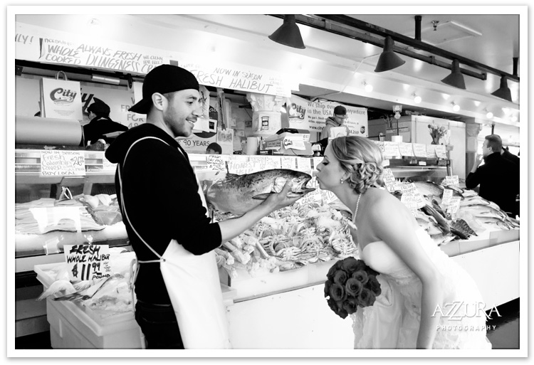 Bride Kissing Fish at Pike Place Fish Market Seattle