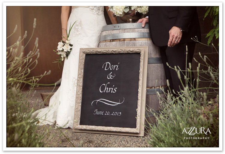 Delille Winery Wedding with Vintage Chalkboard Sign by Azzura Photography