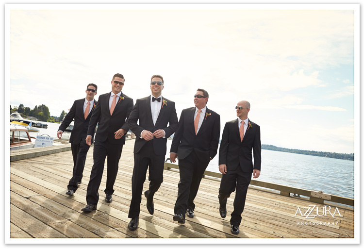 Woodmark Hotel Groomsmen on the Dock by Azzura Photography