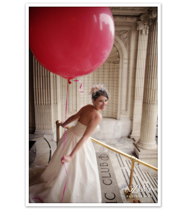 Bride with balloon at The Arctic Club