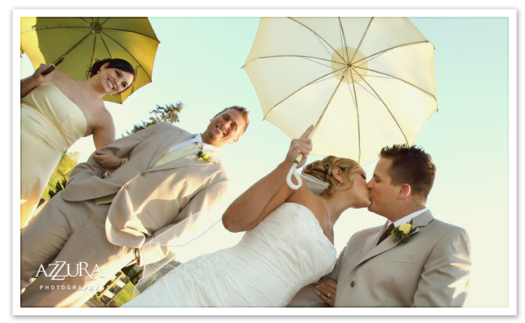 Bridesmaids in yellow with Bella Umbrellas