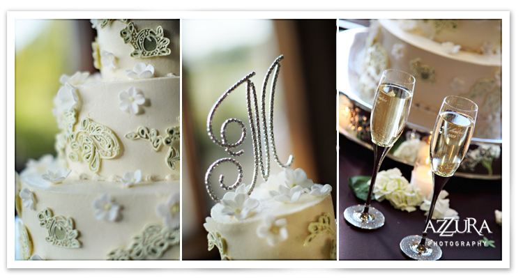 Wedding Cake, topper, and Champagne at Echo Falls Reception