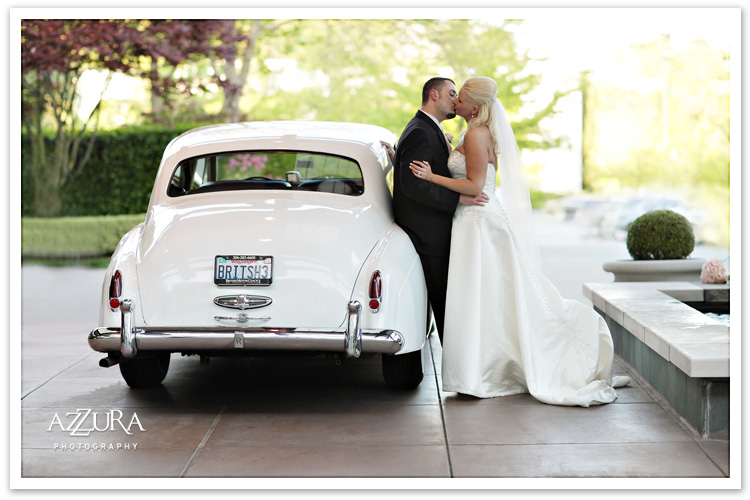 Wedding Couple with British Motor Coach Seattle