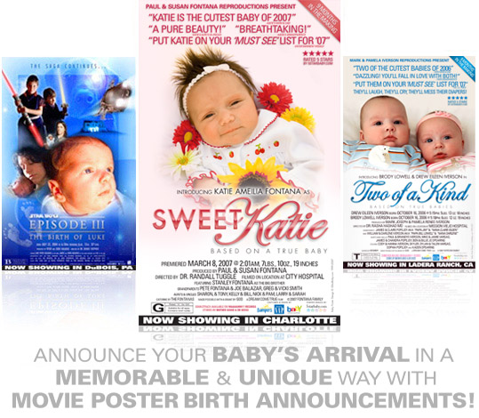 Movie Poster birth announcements :  announcements movies kids tees celebrity