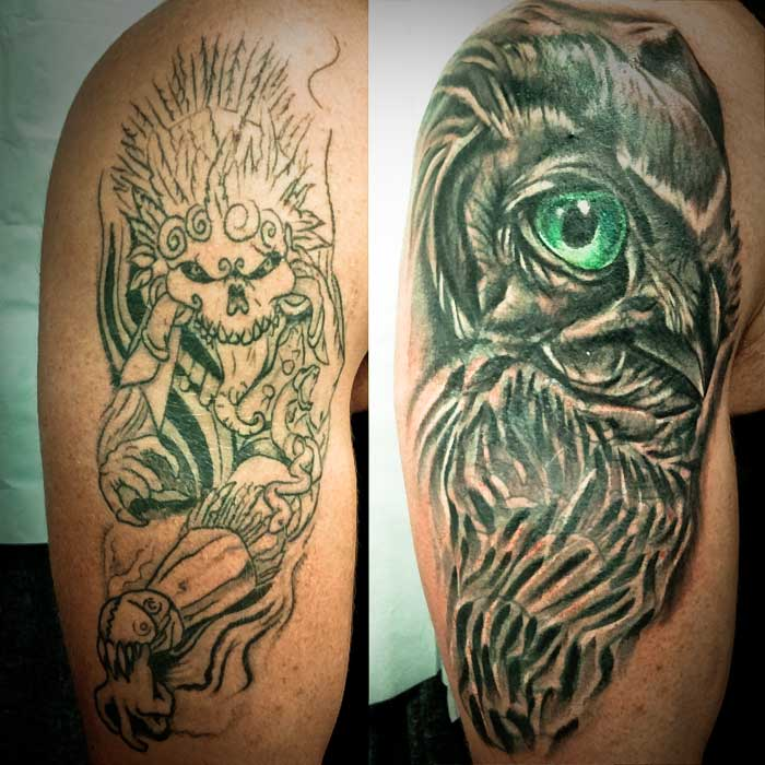 Super Awesome Owl Cover Up Tattoo - Heart for Art - Tattoo Shop ...
