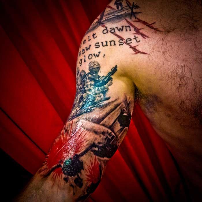 small trash polka war memorial tattoo sleeve small - Trash Polka Tattoo Art