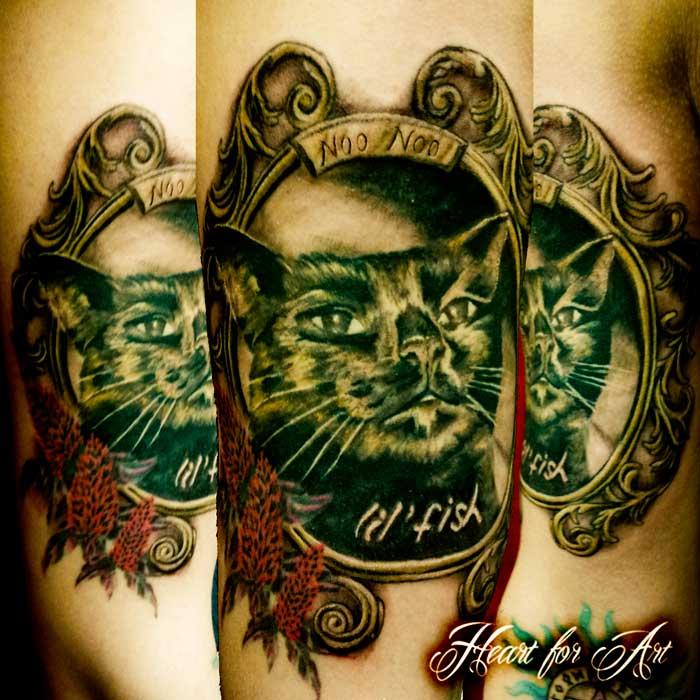 ornate frame tattoo color cat portrait tattoo in ornate frame heart for art shop manchester blog artists cover up
