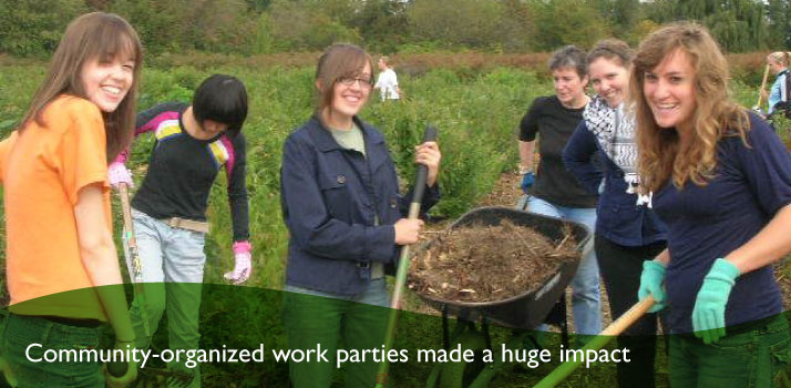 Community-organized work parties made a huge impact