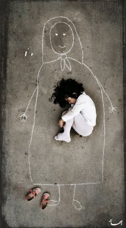 girl curled up inside chalk drawing