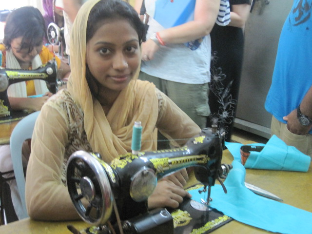 Young woman in Bangladesh training to work in the garment industry