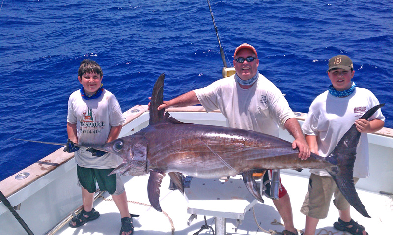 Giant swordfish for Bud and mary s fishing report