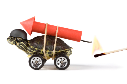 tfwco.com inbound marketing-this image shows a turtle on wheels with a lit rocket strapped to its shell to represent turbo charged