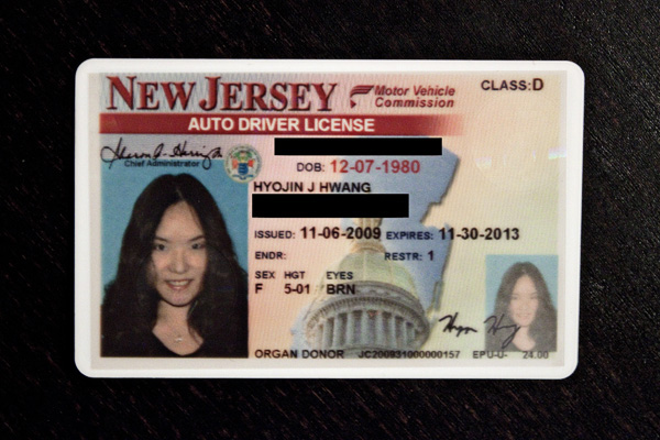NJ Driver's License New Jersey http://www.geekinheels.com/2009/11/06/my-new-drivers-license.html