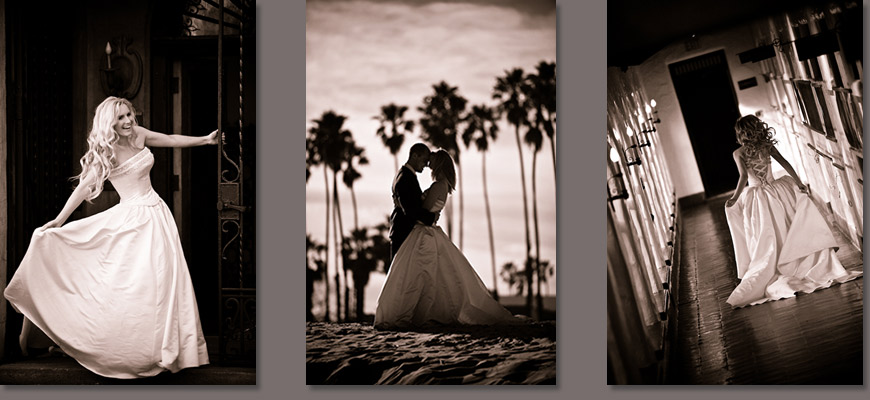 Santa Barbara weddings - bride and groom on beach and bride portraits
