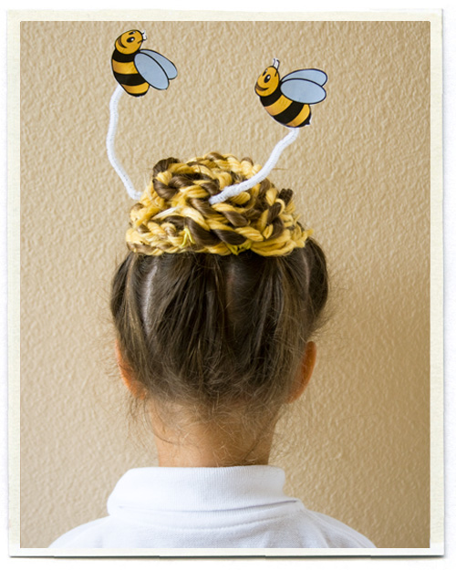 unique hair braided: bee head updo for a little girl